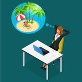 等量办公室工作者或女商人休息、假期和旅行工作场所梦想的  在时期的一个断裂  库存例证