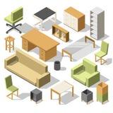 等量办公家具 3d有桌的内阁、椅子和扶手椅子、沙发和架子 提取空白背景蓝色按钮颜色光滑的例证查出的对象被设置的盾发光的向量 库存例证