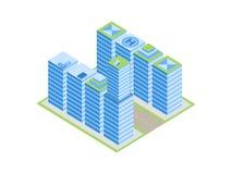 等量城市、街道有房子的和摩天大楼 背景查出的白色 向量 库存图片