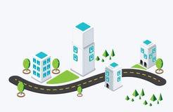 等量城市大厦 也corel凹道例证向量 免版税库存图片