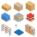 等量套存贮设备等量象 运输与箱子、容器和仓库架子的传染媒介象 库存例证