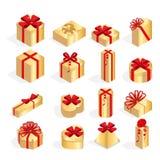 等量套有弓和丝带的五颜六色的礼物盒 里面惊奇 许多礼物 平的样式传染媒介 免版税库存照片