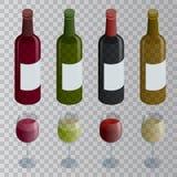 等量套白色、玫瑰和红葡萄酒瓶和玻璃 在透明背景隔绝的传染媒介例证 免版税库存图片