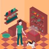 等量宠物店内部 猫和狗设备 兽医商店 走与小猎犬的人 免版税库存照片