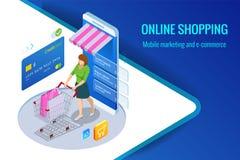 等量巧妙的智能手机网上购物概念 智能手机把变成互联网商店 流动营销和e 免版税库存图片