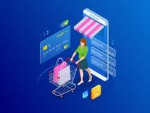 等量巧妙的智能手机网上购物概念 智能手机把变成互联网商店 流动营销和e 库存照片