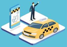 等量平的3D概念出租汽车运输业务 向量例证