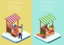 等量平的3D概念肉店 免版税库存照片