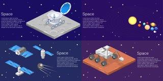 等量平的3D隔绝了一个月球流浪者的概念传染媒介 向量例证