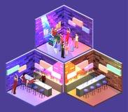 等量平的3Dconcept切掉的酒吧在夜总会 皇族释放例证