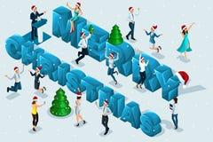 等量庆祝、男人和妇女获得乐趣以大信件为背景圣诞节快乐,公司党 库存例证