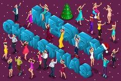 等量庆祝、男人和妇女获得乐趣反对大信件的背景圣诞节快乐,公司党 皇族释放例证