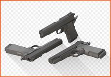 等量手枪手枪平的传染媒介 库存例证