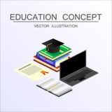 等量教育和毕业传染媒介概念 回到sc的3d 免版税库存图片
