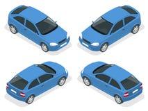 等量汽车 斜背式的汽车汽车 平的3d传染媒介优质城市运输象集合 图库摄影