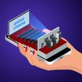 等量活小河,图象播放机概念 对网上购买和售票戏院票的智能手机申请或居住 库存图片