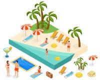 等量海岛旅行概念 免版税库存图片