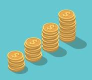 等量美元硬币堆 免版税图库摄影