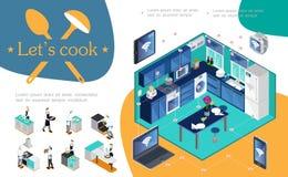 等量聪明的厨房Infographic概念 库存例证