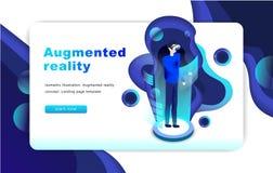 等量被增添的虚拟现实概念 可用两eps8格式化jpeg模板网站 免版税库存图片