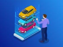 等量购买汽车或租务汽车网上设计网横幅 半新车app传染媒介例证 库存图片