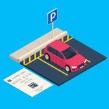 等量运输停车处 入口停车空间票,城市都市汽车车库传染媒介例证 皇族释放例证