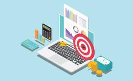 等量金融公司或个人目标与数据注标图和金钱 皇族释放例证