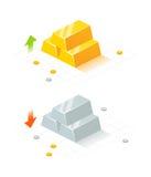等量金黄和银条 免版税库存图片