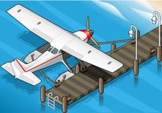 等量水上飞机被停泊在背面图的码头 库存照片