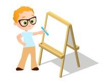 等量画架 戴画Whiteboard的眼镜的年轻男孩 绘在白色背景和白皮书隔绝的书桌 传染媒介Illust 皇族释放例证