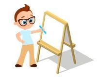 等量画架 戴画Whiteboard的眼镜的年轻男孩 绘在白色背景和白皮书隔绝的书桌 传染媒介Illust 向量例证