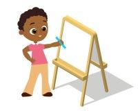 等量画架 戴画Whiteboard的眼镜的年轻非裔美国人的男孩 绘在白色backgrou和白皮书隔绝的书桌 向量例证
