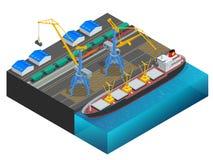 等量货箱被换船在向前的运输口岸仓库的运输车和发货之间 向量例证