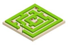 等量绿色植物迷宫 城市、公园和室外植物 长方形公园是迷宫由与长凳的灌木做成 库存照片
