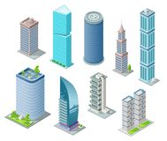 等量3D大厦和城市摩天大楼例证或办公室和旅馆住所塔建筑的设计 库存例证