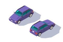 等量3d家庭的四座汽车红色经典斜背式的汽车汽车 库存例证