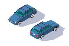 等量3d家庭的四座汽车红色经典普遍汽车 库存例证