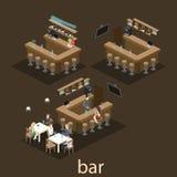 等量3D平展内部酒吧或客栈 在酒吧附近的椅子立场 免版税库存图片