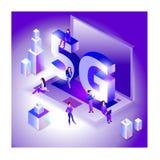 等量5G网络例证 有小配件的人们 10 eps 图库摄影