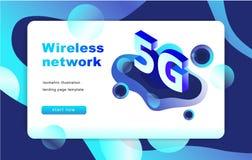等量5G网络例证 着陆页模板 向量 10 eps 免版税库存照片