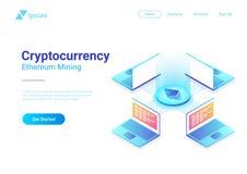 等量Cryptocurrency Etherium贸易的平台 库存例证