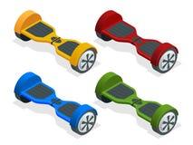 等量hoverboard或Gyroscooter 动画片例证鼠标被设置的向量 自平衡的电滑行车 供选择的Eco 图库摄影