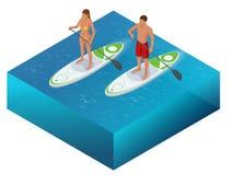 等量Paddleboard海滩男人和妇女站立冲浪在海洋海的明轮轮叶冲浪板 水上运动概念 向量例证