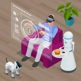 等量Techno机器人和人在家坐佩带虚拟现实耳机的沙发 皇族释放例证