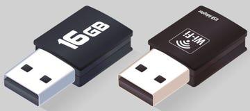 等量USB一刹那驱动 Wi-Fi适配器 现实笔驱动 闪光磁盘 在 3D的灰色背景隔绝的被打开的记忆棍子 皇族释放例证