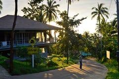 等高或房子和棕榈 背景是日落 库存照片