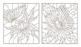 等高设置了与彩色玻璃的例证与蝴蝶和花,在白色背景的黑等高的 库存图片