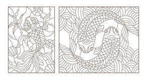 等高设置了与彩色玻璃的例证与金鱼的,在白色背景的黑等高 库存例证