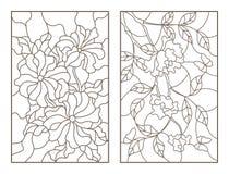 等高设置了与花、玫瑰与蝴蝶和喇叭花,黑暗的概述的例证在白色背景 免版税图库摄影