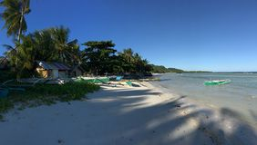 筏小船和palmtrees 免版税库存照片